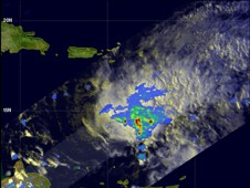 The TRMM satellite passed over Tomas on Sunday, Oct. 31 measuring intense rainfall, falling at about 2 inches per hour.