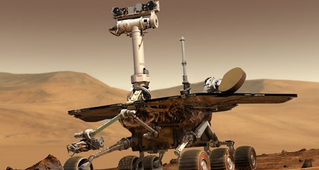 artist's concept portrays a NASA Mars Exploration Rover on the surface of Mars