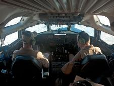 Pilots fly the DC-8 research aircraft over the Weddell Sea on Oct. 26, 2010.