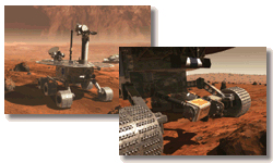 Two computer-generated images of Mars Exploration Rover on surface of Mars
