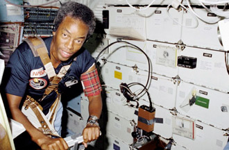 Mission Specialist Guion Bluford on STS-8, his first mission.