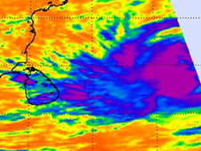 System 99W's clouds have already reached Sri Lanka (blue) and has strong convection and thunderstorms.