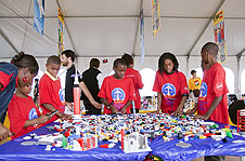 Students take part in Lego construction activity.