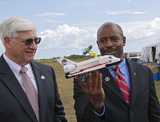 NASA's Leland Melvin and LEGO's Stephen Turnipseed.