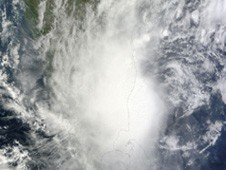 Tropical Cyclone Jal on Nov. 7 as it was making landfall and its eastern half was still in the Bay of Bengal.