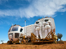 Space Exploration Vehicle docking with Cabin A for a simulated rescue mission.