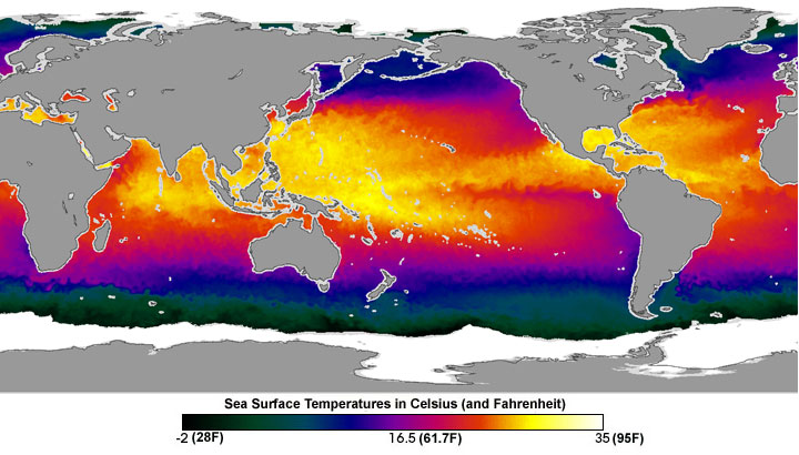 Nasa ocean sponging up some warmth over next 50 years false color map image of global sea surface temperatures taken from japan national space development gumiabroncs Gallery