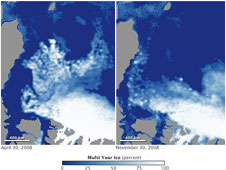 Maps of multiyear sea ice coverage of Arctic Ocean on April 30, 2008 (left) and again on Nov. 30, 2008 (right) show a large area of fragmented multiyear ice in the Beaufort Sea disappears after ice pack reached its annual summer minimum extent.