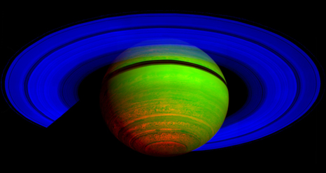 false color image of Saturn