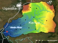 A model of how water and potential floods might move through the Nzoia watershed in the Lake Victoria Basin.