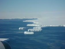 Icebergs are seen calving from the Dotson Ice Shelf (above) during a successful mission there on Nov. 6. Weather conditions were favorable over the ice-covered regions.
