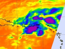 When Aqua flew over System 93L in the Caribbean Sea it showed the strongest convection southwest of Puerto Rico, over open ocean.