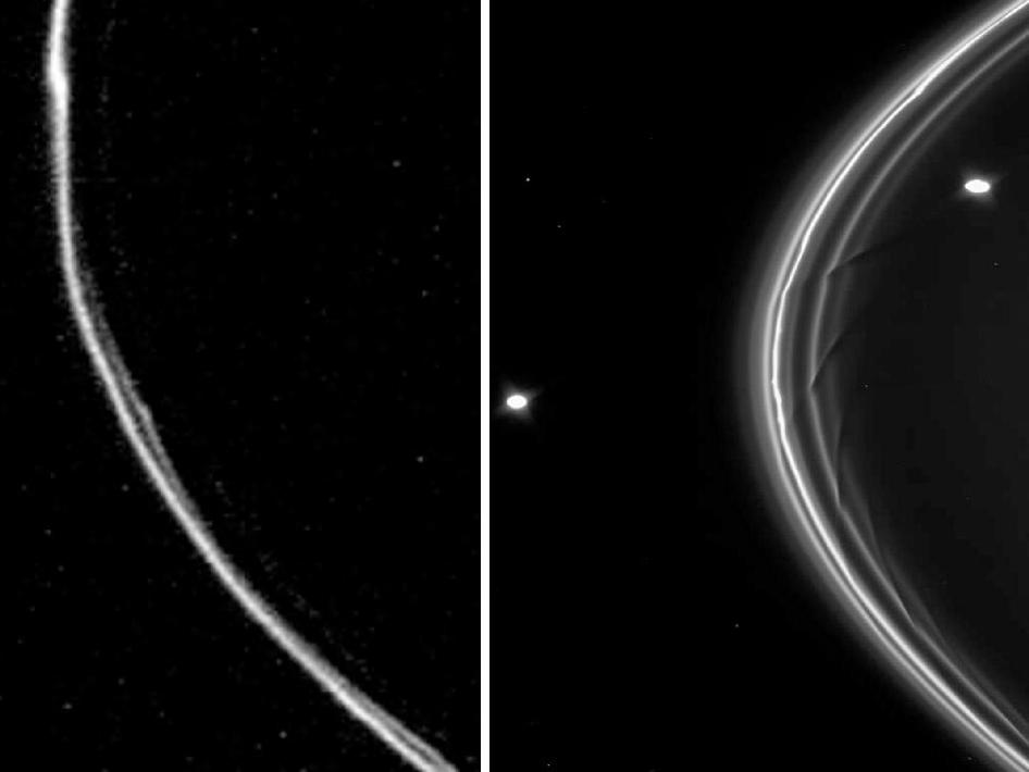 Two images of Saturn, the one on the left taken by Voyager, the one on the right by Cassini.