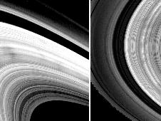 Saturn image taken by Voyager (left) and Cassini (right)