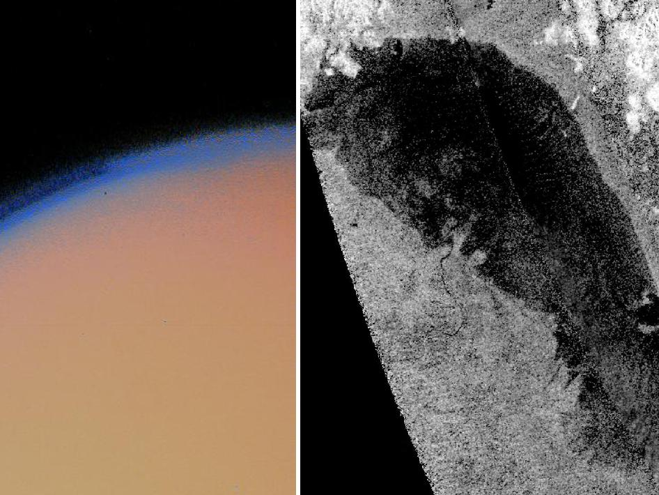 Images of Saturn's moon Titan taken by Voyager (left) and Cassini (right)