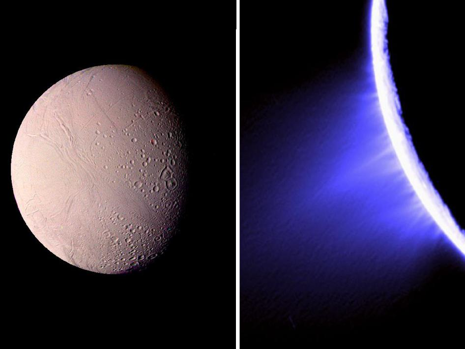 Enceladus image taken by Voyager (left) and Cassini (right)