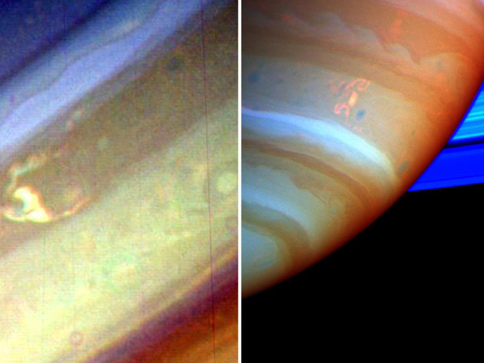 Voyager image of Saturn on the left, and Cassini image on the right