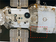Location for the installation of a multipurpose workstation on the starboard side of the Zvezda service module.