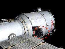 Location of Kontur experiment on side of the Zvezda service module.