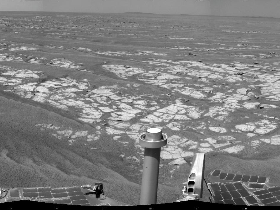 mosaic of images from the navigation camera on NASA's Mars Exploration Rover Opportunity