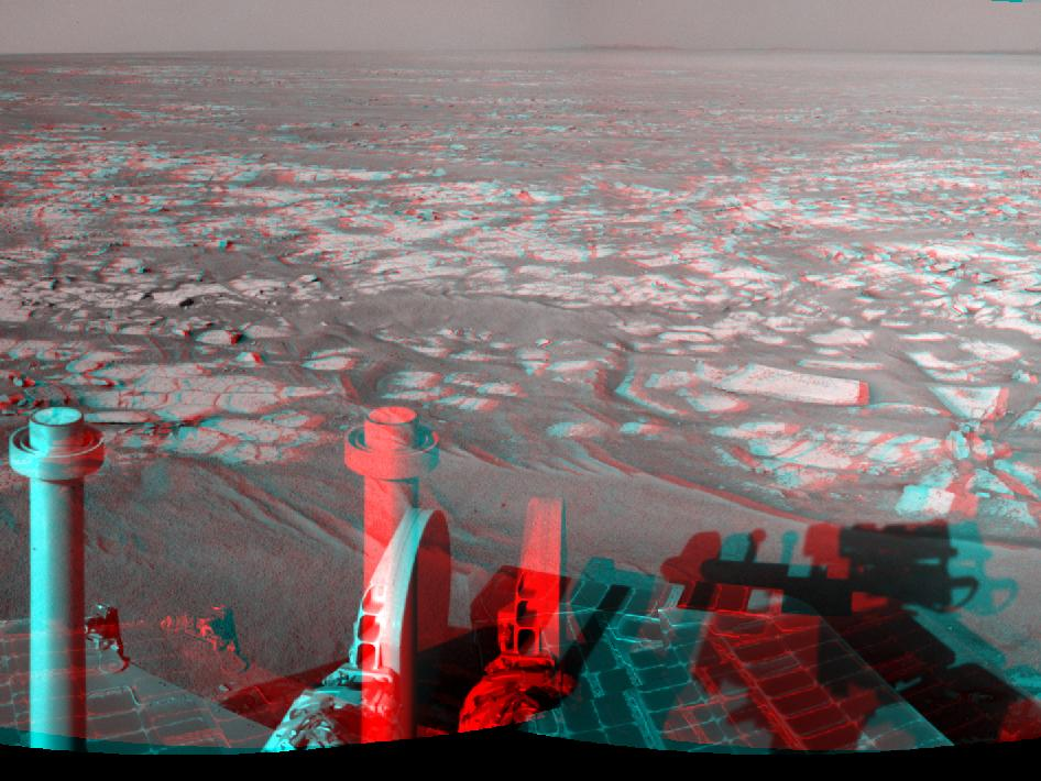 stereo mosaic of images from the navigation camera on NASA's Mars Exploration Rover Opportunity