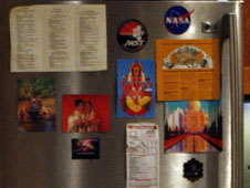 Webb telescope and NASA magnets on the refrigerator in the apartment on THE BIG BANG THEORY.