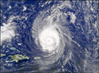 Satellite image of Hurricane Fabian.