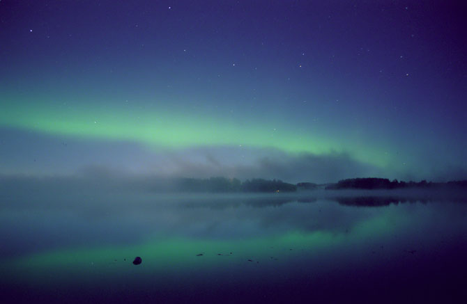Aurora over Valkeakoski, Finland Sept. 15, 2000 as a  result from the corresponding Sept. 12 coronal mass ejection.