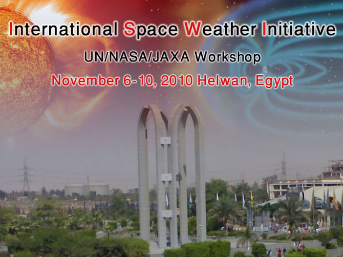 Poster announcing the International Space Weather Initiative Meeting on Nov. 6-10 in Helwan, Egypt.