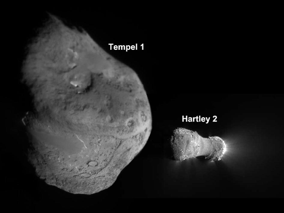 comets Tempel 1 and Hartley 2