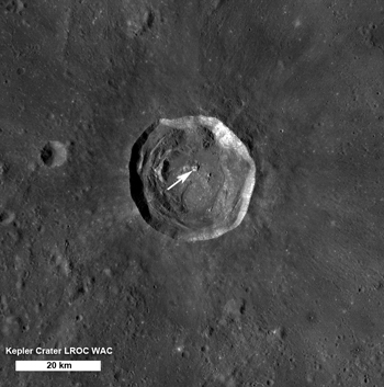 LROC WAC mosaic of Kepler crater, arrow indicates location of NAC image shown above