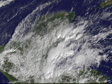 The western Caribbean low pressure area as it continued moving toward Belize and Guatemala today.
