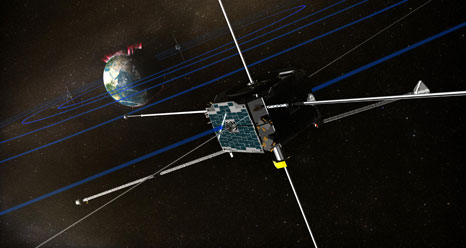 Artist's concept of the THEMIS spacecraft as it might appear in orbit. Credit: NASA