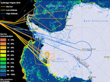 A compilation of flight lines shows the paths of all 10 flights flown during Operation IceBridge's Antarctic 2010 campaign. Credit: Michael Studinger