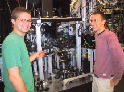 Researchers with cooling machine