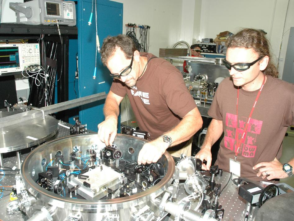 JPLers Glenn de Vine and Brent Ware with their LISA laser experiment
