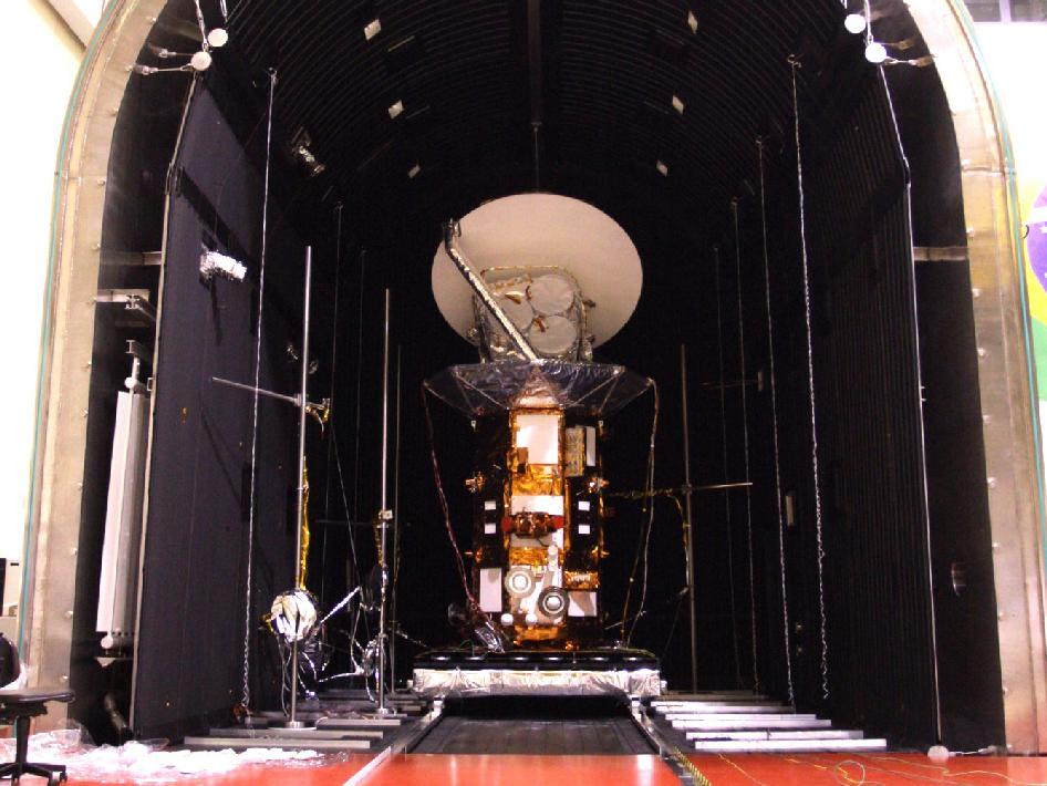 The Aquarius/SAC-D spacecraft is prepped for thermal vacuum chamber tests