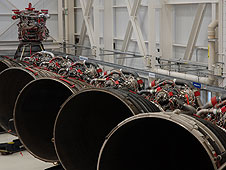 Space shuttle main engines lined up at KSC