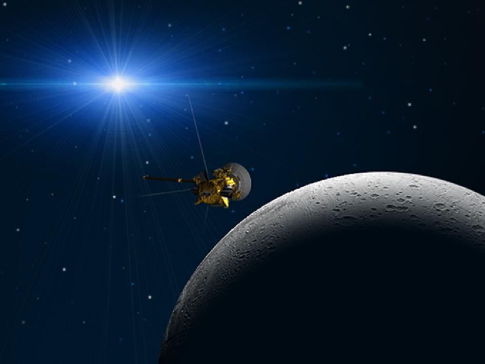 Artist's concept showing a planned flyby of Saturn's moon Enceladus by NASA's Cassini spacecraft