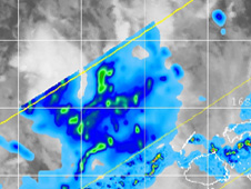 NASA's TRMM satellite saw moderate rainfall (orange) in Tropical Depression 1F in the Southwestern Pacific.