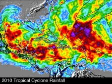 This image shows the tropical cyclone rainfall occurring in 2010. The tracks of tropical cyclones are shown with black lines.