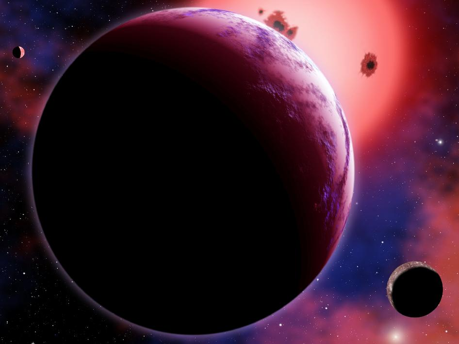 Artist concept of exoplanet GJ 1214b