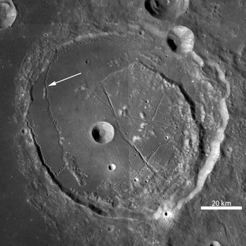 Rimae Posidonius is a sinuous rille winding across the floor of Posidonius crater. LROC