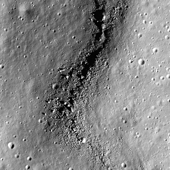 Close-up view of boulders, derived from the mare lavas that flooded the crater