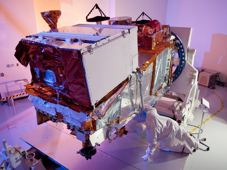 VIIRS instrument being integrated into NPP satellite