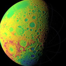 LOLA topographic map of moon's southern hemisphere