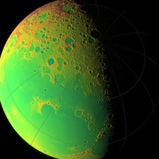 LOLA topographic map of moon's northern hemisphere