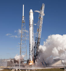 The Falcon 9/Dragon lifts off