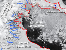 Location of the edges of ice shelves and glaciers in and around the Larsen B Embayment of Antarctica, in Spring 2006.
