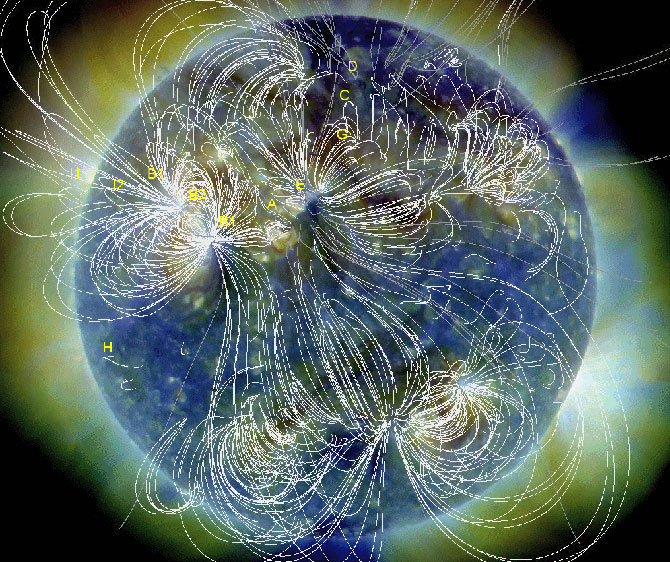 Locations of key events are labeled in this extreme ultraviolet image of the sun, obtained by the Solar Dynamics Observatory on August 1st. White lines trace the sun's magnetic field.